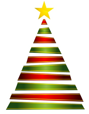Christmas Design Featuring Strips of Ribbons Shaped Like a Christmas Tree Stock Photo - 8360842