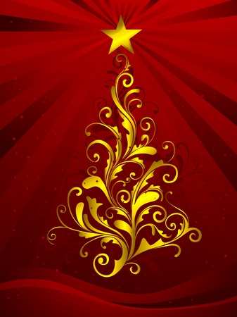 Christmas Tree Design Featuring Golden Swirls Shaped Like a Christmas Tree Stock Photo - 8360896