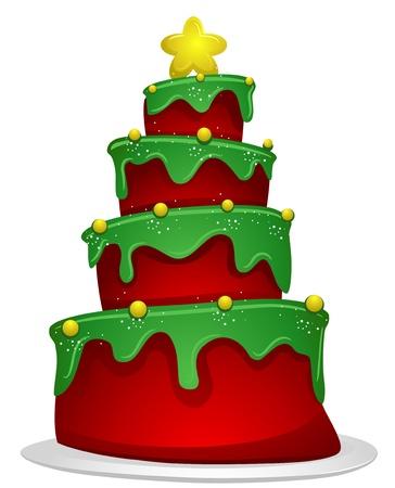 christmas cake: Christmas Design Featuring a Layered Cake Shaped Like a Christmas Tree Stock Photo