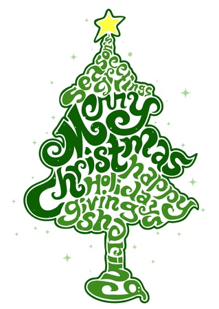 Christmas Design Featuring Assorted Christmas Text Shaped Like a Christmas Tree Stock Photo - 8360909