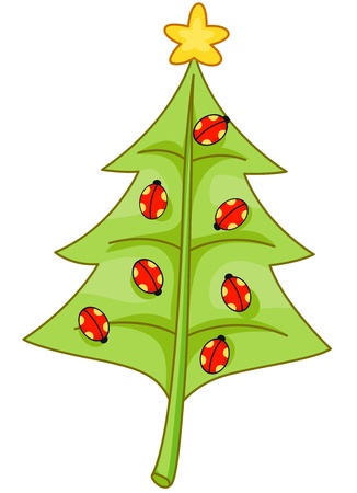 Christmas Design Featuring a Leaf Shaped Like a Christmas Tree with Lady Bugs on it Stock Photo - 8360824