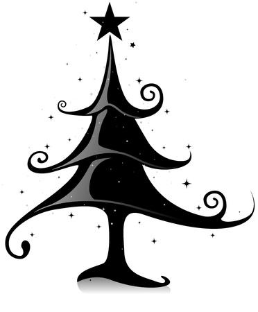 sleek: Sleek Christmas Design Featuring Curvy Lines Shaped Like a Christmas Tree