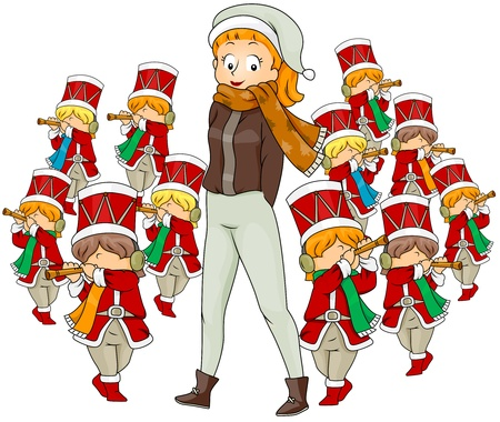 pipers: Illustration of a Woman Watching Eleven Pipers Piping (11 of 12)