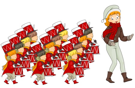 drumming: Illustration of a Woman Leading 12 Drummers Drumming (12 of 12)