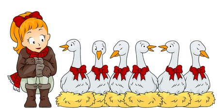 christmas bird: Illustration of a Woman Sitting Side by Side with 6 Geese A Laying (6 of 12)