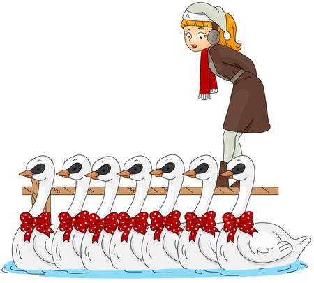 12 days of christmas: Illustration of a Woman Watching Swans A Swimming (7 of 12)