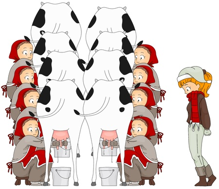 12 days of christmas: Illustration of a Woman Watching Eight Maids A Milking (8 of 12)