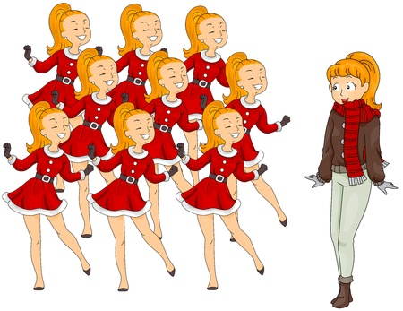 Illustration of a Woman Watching Nine Ladies Dancing (9 of 12) Stock Illustration - 8360924