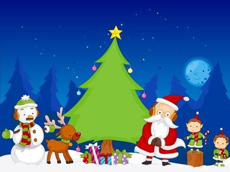 A Colorful Illustration of a Christmas Scene Featuring Various Christmas Related Characters Stock Illustration - 8360891