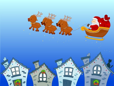 A Colorful Illustration of Santa Claus Riding on His Sled Stock Illustration - 8360919