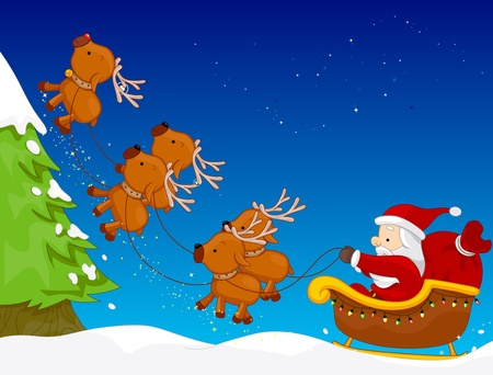 A Colorful Illustration of Santa Claus Riding His Sled Pulled by Reindeers illustration