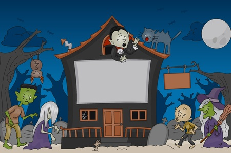 Illustration of a Halloween Scene Featuring Traditional Halloween Characters illustration