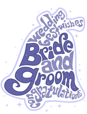 Illustration Featuring Wedding Related Words Forming the Shape of a Bell illustration