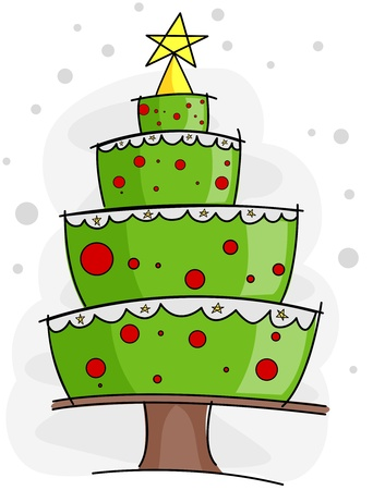 Christmas Tree Design Featuring a Layered Cake Forming the Shape of a Christmas Tree photo
