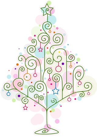 Christmas Tree Design Featuring Abstract Swirls Forming the Shape of a Christmas Tree Stock Photo - 8427217