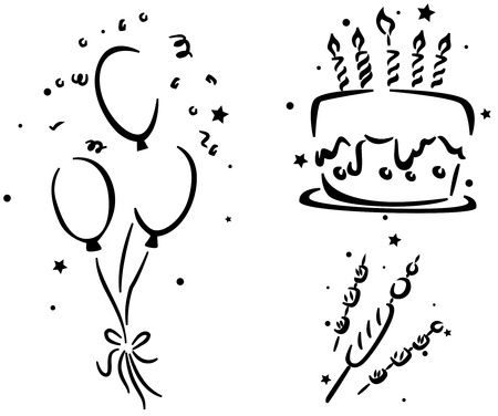 Birthday Stencil Featuring a Birthday Cake, Birthday Balloons, and some Hotdogs and Marshmallows Stock Photo - 8427127