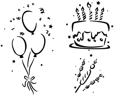 pastel de cumplea�os: Galer�a de s�mbolos de cumplea�os con un pastel de cumplea�os, globos de cumplea�os y algunos perritos y malvaviscos Foto de archivo