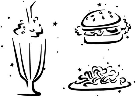 Food Stencil Featuring a Glass of Milk Shake, a Burger, and Some Pasta photo