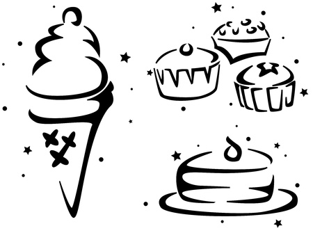 Food Stencil Featuring Cakes and Ice Cream Stock Photo - 8427106