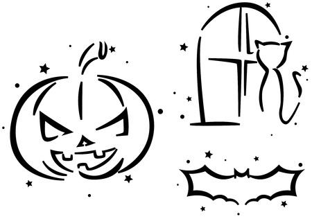 Halloween Stencil Featuring a Jack o Lantern, a Cat, and a Bat photo