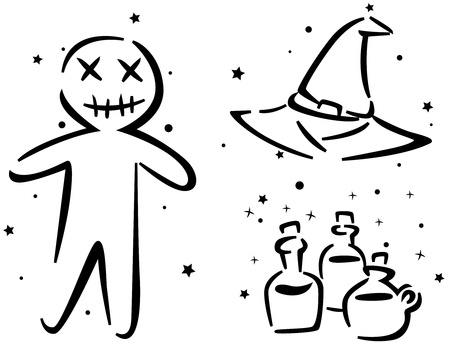 Halloween Stencil Featuring a Voodoo Doll, a Witchs Hat, and Some Potions. photo