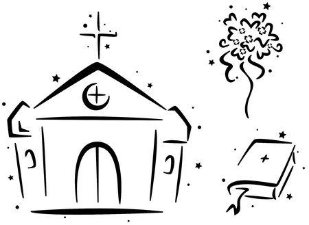 chapel: Wedding Stencil Featuring a Chapel, a Bible, and a Bouquet of Flowers Stock Photo