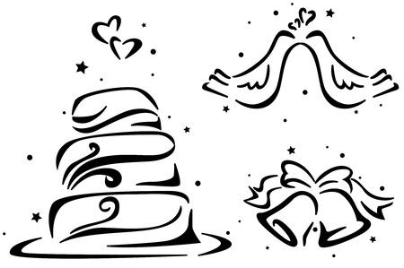 boda pastel: Galer�a de s�mbolos con un pastel de bodas, Wedding Bells y un par de palomas de la boda