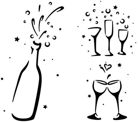 Boda Galer�a de s�mbolos que copas de vino y una botella de Champagne Foto de archivo - 8427105