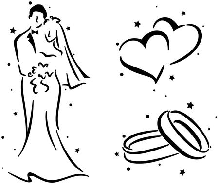 newlyweds: Wedding Stencil Featuring a Couple, a Pair of Rings, and a Pair of Hearts Stock Photo