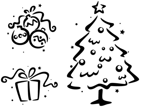 featuring: Christmas Stencil Featuring a Christmas Tree, a Christmas Gift, and some Christmas Balls Stock Photo