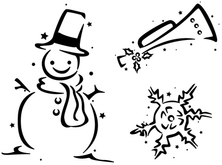 Christmas Stencil Featuring a Snowman, a Trumpet, and a Snowflake Stock Photo - 8427130