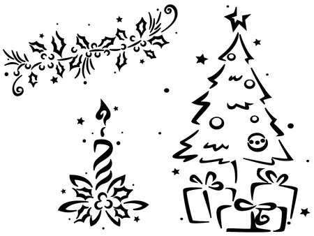 Christmas Stencil Featuring a Christmas Tree and Other Christmas Decor photo