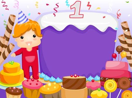 invitacion fiesta: Invitaci�n de partido con un ni�o Surrounded por pasteles y otros dulces