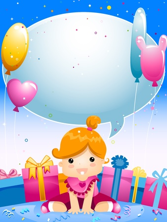 Party Invitation Featuring a Kid Surrounded by Gifts and Balloons Stock Photo - 8427194