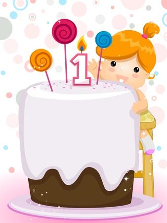 invitacion fiesta: Invitaci�n de partido con un ni�o con su pastel de cumplea�os