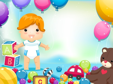 kids toys: Party Invitation Featuring a Kid Surrounded by Toys and Balloons