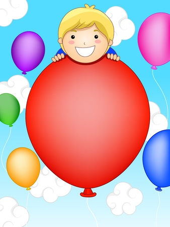 Party Invitation Featuring a Little Kid Surrounded by Balloons Stock Photo - 8427184
