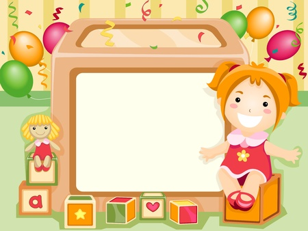 Party Invitation Featuring a Kid Sitting Beside a Blank Board with Balloons at the Back Stock Photo - 8427170