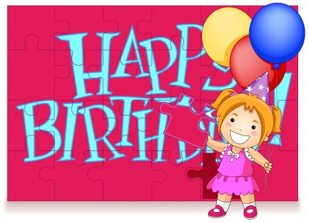 Party Invitation Featuring a Kid Arranging a Jigsaw Puzzle with Happy Birthday Written on it Stock Photo - 8427207