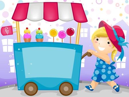 carretto gelati: Invito con un bambino, spingendo un carrello che trasportano caramelle e il gelato party Archivio Fotografico