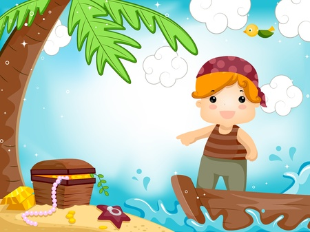 Party Invitation Featuring a Kid Dressed as a Pirate Stock Photo - 8427205