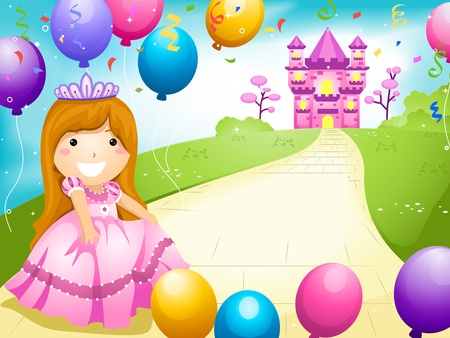 castle cartoon: Party Invitation Featuring a Kid Dressed in a Princess Costume and Surrounded by Balloons
