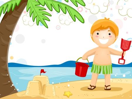 invitacion fiesta: Invitaci�n de partido con un ni�o jugando con arena