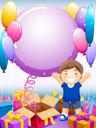 Party Invitation Featuring a Kid Surrounded by Gifts and Balloons Stock Photo - 8427203