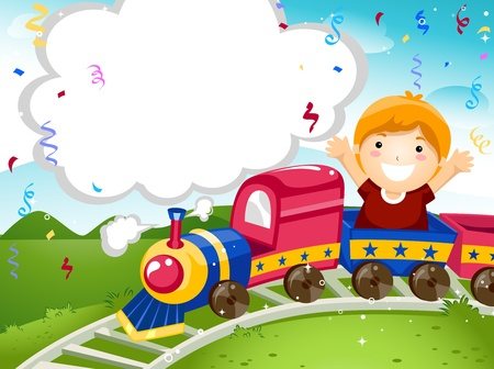 and invites: Party Invitation Featuring a Kid Riding on a Toy Train Stock Photo