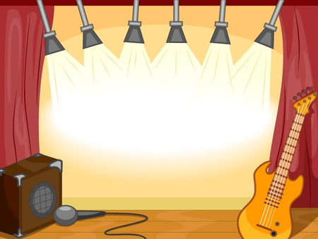 concerts: Party Invitation Featuring Musical Instruments Sitting on an Empty Stage Stock Photo