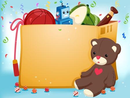 invitacion fiesta: Invitaci�n de partido con un relleno Toy sentado al lado de una caja de juguetes Foto de archivo