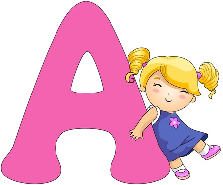 alphabet: Illustration of a Girl Resting Against a Letter A