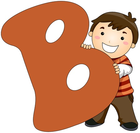 letter b: Illustration of a Little Boy Hiding Behind a Letter B