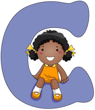 Illustration of a Little Girl Sitting on a Letter C illustration